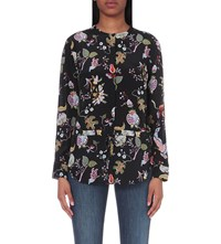 Warehouse Butterfly And Floral Print Silk Shirt None