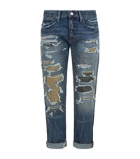 Denim And Supply Ralph Lauren Shredded Boyfriend Jeans Female Blue