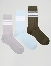Asos Sports Style Socks With White Stripes 3 Pack Multi