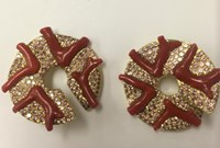 Nicholas Varney Coral And Purple Garnet Zigzag Hoops Red