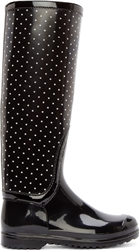 Dolce And Gabbana Black And White Polka Dot Rain Boots