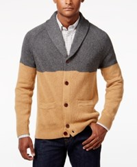 Tommy Hilfiger Men's Crawford Shawl Collar Colorblocked Cardigan Dark Grey Heather Camel Heather