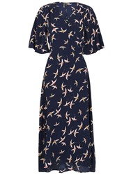 Izabel London Vintage Style Wrap Dress Navy
