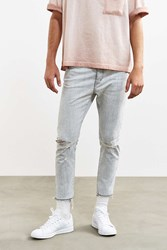 Neuw Cropped Destructed Ray Slim Jean Light Grey
