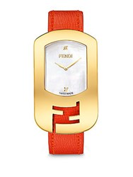Fendi Timepieces Chameleon Diamond Goldtone Stainless Steel Mother Of Pearl And Saffiano Leather Large Signature Strap Watch Red Red Gold