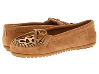 Minnetonka Leopard Kilty Moc Taupe Suede Women's Moccasin Shoes