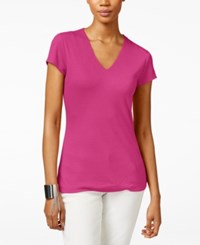 Inc International Concepts Petite Ribbed V Neck T Shirt Only At Macy's Intense Pink