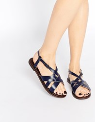 Park Lane Strap Sling Leather Flat Sandals Navy