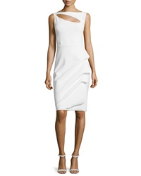 La Petite Robe Di Chiara Boni Angie Boat Neck Keyhole Cocktail Dress White