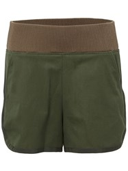 Sacai Ribbed Waistband Shorts Green