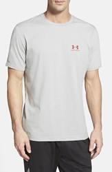 Men's Under Armour 'Sportstyle' Charged Cotton Loose Fit Logo T Shirt True Grey Heather Red