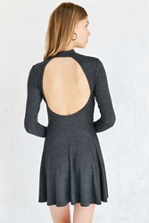 Silence And Noise Open Back Mock Neck Mini Dress Dark Grey