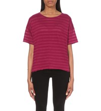 Rag And Bone Shadow Cotton And Linen Blend T Shirt Plum Red