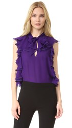 Giambattista Valli Sleeveless Ruffle Top Dark Purple