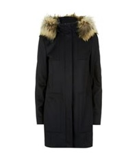 Hugo Boss Fur Trimmed Wool Coat Navy