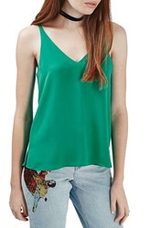 Women's Topshop Double Strap V Back Camisole Green