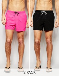 Asos Short Length Swim Shorts 2 Pack In Neon Pink And Black Save 17 Multi