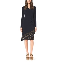 Michael Kors Grommet Embellished Matte Jersey Wrap Dress Navy