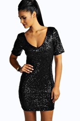 Boohoo Sequin Short Sleeve Bodycon Dress Black