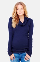 Women's Ingrid And Isabel Cowl Neck Maternity Tee True Navy