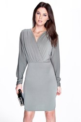 Boohoo Batwing Wrap Over Slinky Dress Khaki