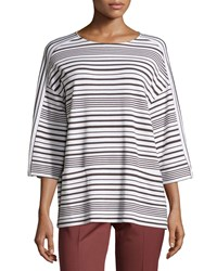 Lafayette 148 New York Oversized Striped Sweater W Pockets Granite White