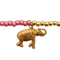 Lucci Charmers Elephant Charm Bracelet Pearl Pink