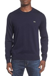Lacoste Men's Jersey Knit Crewneck Sweater Navy Blue