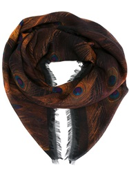 Givenchy Peacock Feather Print Scarf Brown