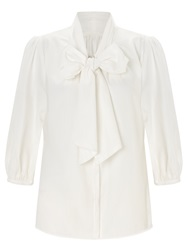 Alice By Temperley Somerset By Alice Temperley Tie Neck Cotton Blouse Ivory