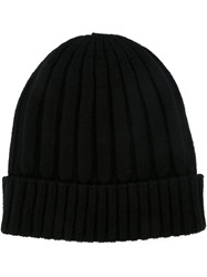 Dolce And Gabbana Ribbed Knit Beanie Hat Black