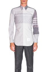 Thom Browne Oversize Plaid Oxford Shirt In Gray Stripes Gray Stripes