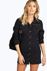 Lou Slim Fit Long Sleeve Button Front Shirt Dress
