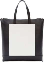 Pb 0110 Black Leather Large Two Tone Tote