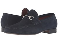 Massimo Matteo Hand Sewn Moccasin With Bit Navy Suede Men's Slip On Shoes Blue