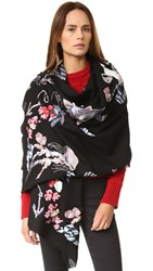 Temperley London Sail Embroidered Shawl Black