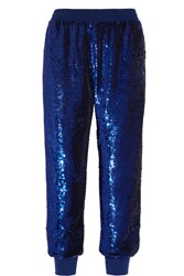 Ashish Sequined Silk Georgette Track Pants Storm Blue
