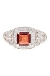 Sterling Silver Garnet And Cz Ring Red