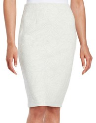 Context Cotton Blend Textured Fitted Skirt White