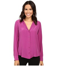 Equipment Adalyn V Neck Button Up Solid Hollyhock Women's Blouse Pink