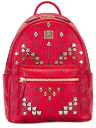 Mcm Small 'M Studs' Backpack Red