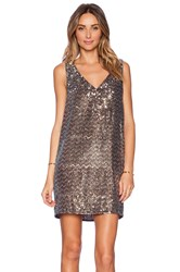 Sam Edelman V Neck Sequin Dress Metallic Bronze