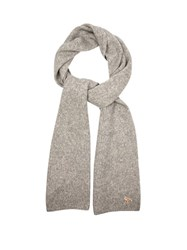 Maison Kitsune Ribbed Knit Wool And Camel Blend Scarf Grey
