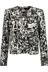 Carven Printed Wool Crepe Blazer Black