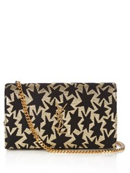 Saint Laurent Monogram Envelope Star Jacquard Cross Body Bag Black Gold