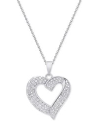 Macy's Diamond Heart Pendant Necklace 1 2 Ct. T.W. In Sterling Silver 18K Gold Plated Sterling Silver Or 18K Rose Gold Plated Sterling Silver