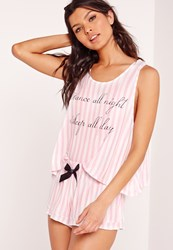 Missguided Dance All Night Pyjama Set Pink Pink