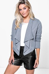 Boohoo Ponte Waterfall Blazer Grey