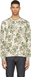 Closed Beige And Green Floral Sweatshirt