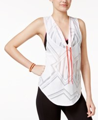 Energie Active Juniors' Diana Cowl Neck Burnout Tank Top Bright White